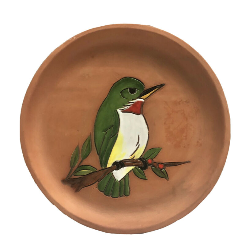 Red Pottery Plate With Hummingbird Carved Design Home Decor SALE