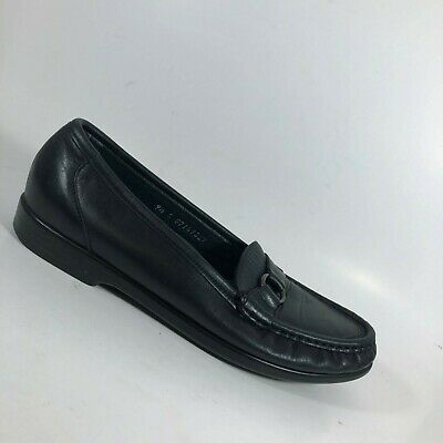 SAS Women's Leather Penny Loafers Flats Slip On Shoes Black  Sz 9.5 S Slim AA