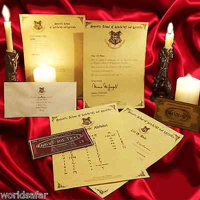 Harry Potter PERSONALISED Gift Set Hogwarts Acceptance Letter & Express Ticket r