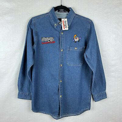 Cartoon Network Bowling Club Embroidered Denim Shirt Dexter's Laboratory Youth L