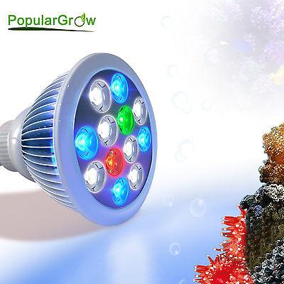 PopularGrow 12WLED Aquarium Light Bulb E27 Base For Fish Tank Reef LPS SPS Coral