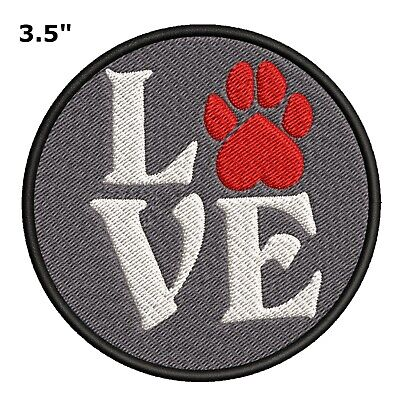 Red Paw Print - Love - Animal Lover Dogs Embroidered Saying Biker Patch Emblem](Red Paw)
