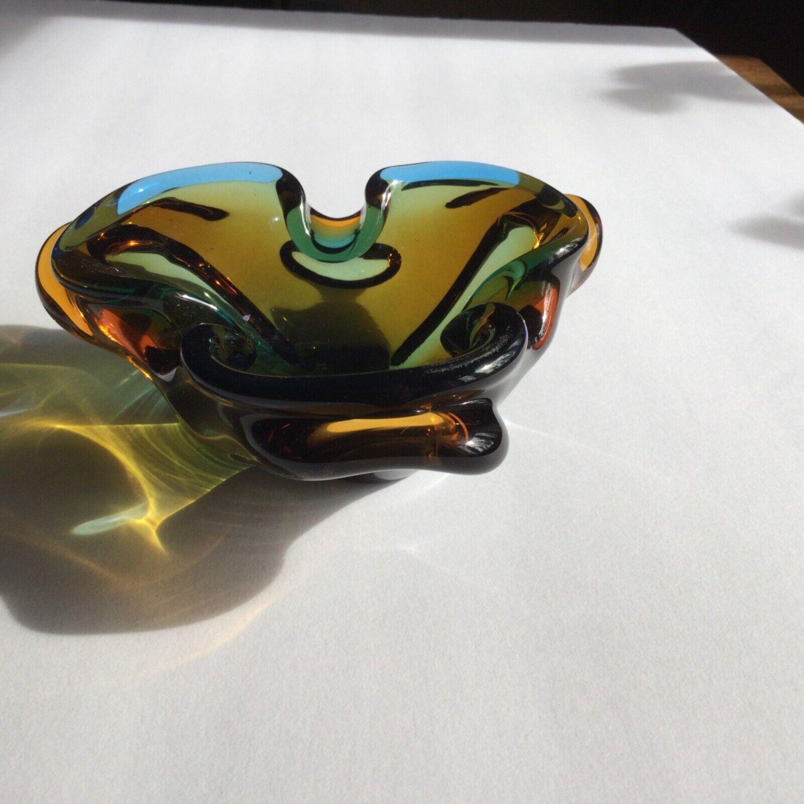 Chalet Clover Leaf Vintage Ash Tray Blue-Green Over Amber - $55.00