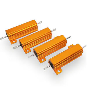 US Stock 4pcs 6 ohm 6 50W Watt Aluminum Housed Metal Case Wirewound Resistors