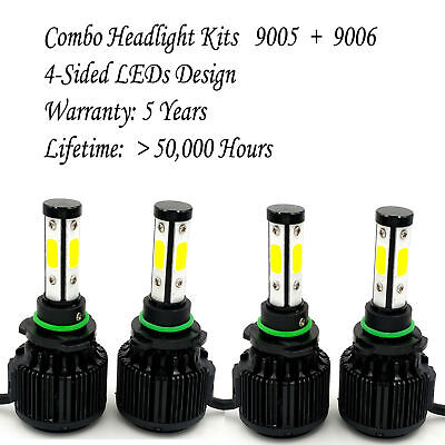 9006 9005 Total 1800W 288000Lm Led Headlight High Low Beam Combo Kit 6000K White