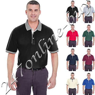 UltraClub  Men's Color-Body Classic Pique Multi-Stripe Trim Polo Shirt - 8537