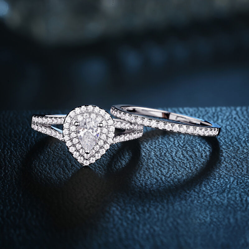 Women 1.20 Ct Pear Aaaa Cz 925 Sterling Silver Wedding Engagement Ring Set 5-12