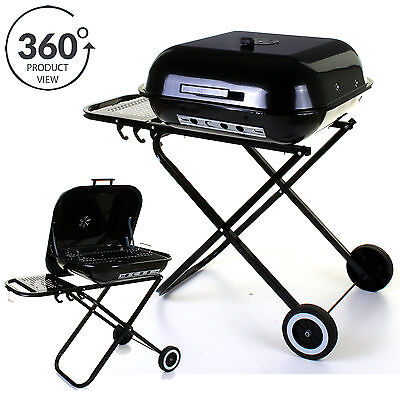 Marko BBQ Charcoal Barbecue Garden Black Cooking Patio Folding Trolley Wheeled