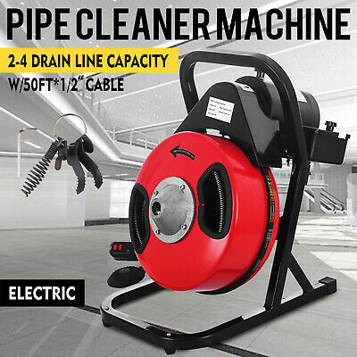 50ft 12 Drain Cleaning Machine Steel Cleaner Snake Sewer Clog 5 Cutters 250w