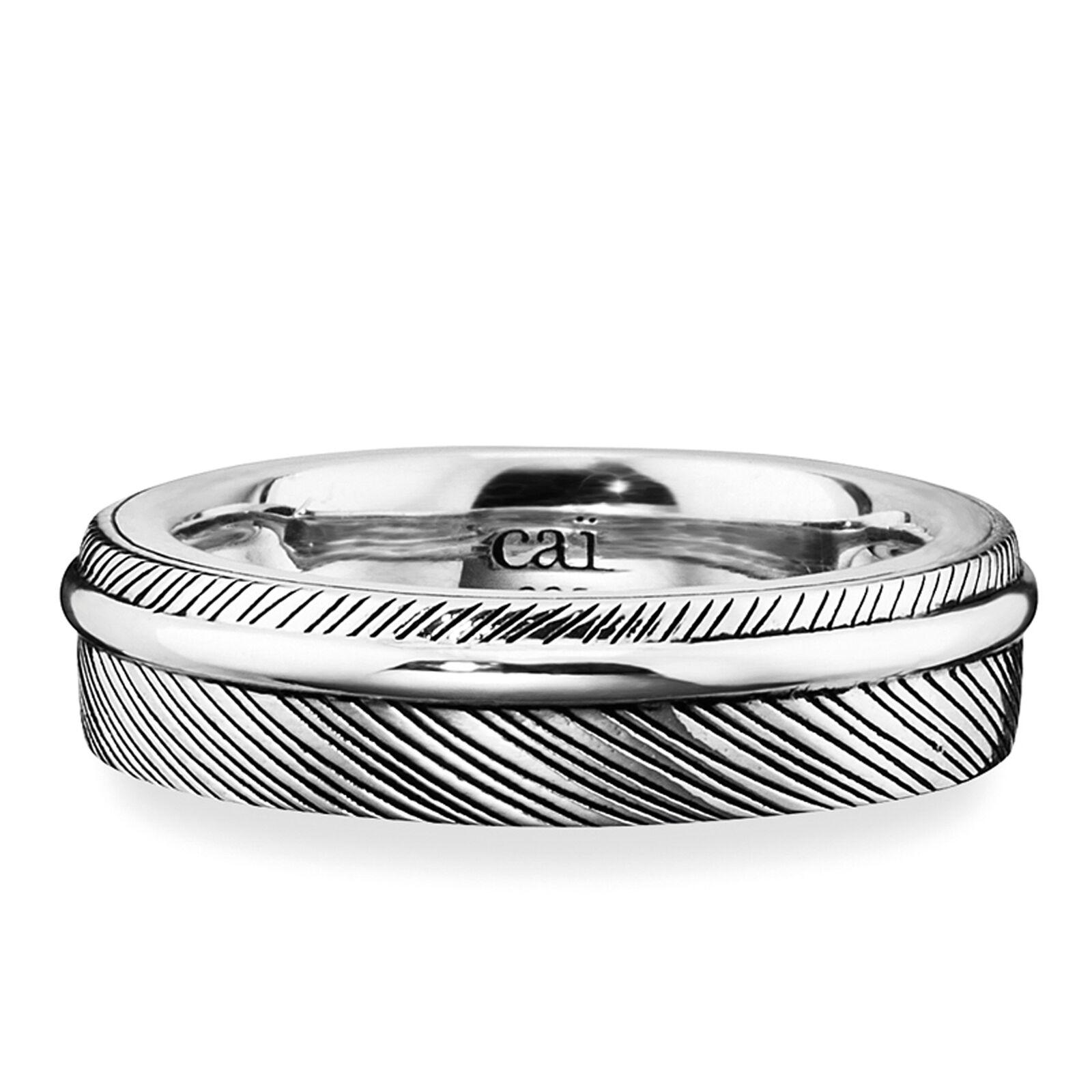 Details zu cai men Ring 925 Sterling Silber rhodiniert Feder Design schwarzer Lack Herren