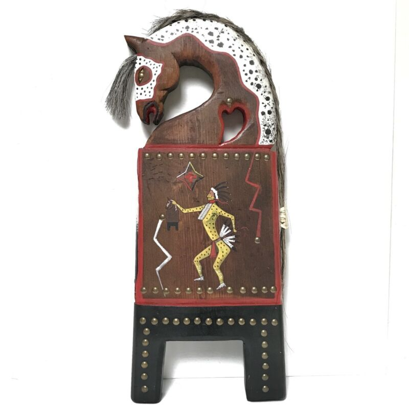 "Native American Horse Mirror Board Hand Crafted Ceremonial Folk Art Heart 17.5"""