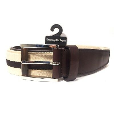 ERMENEGILDO ZEGNA Mens Brown Stripe Canvas Leather Belt Sz 46 120cm (MSRP $295)