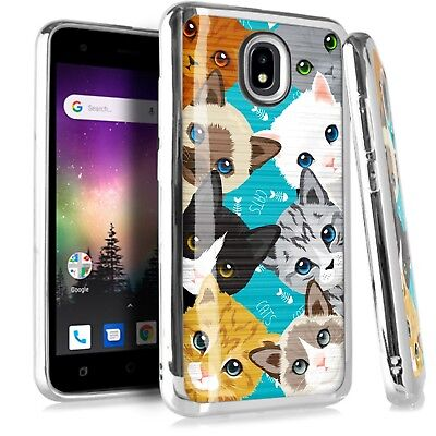 CHROME BRUSHED Case For Samsung Galaxy Phone Cover Cute Cat Kitten