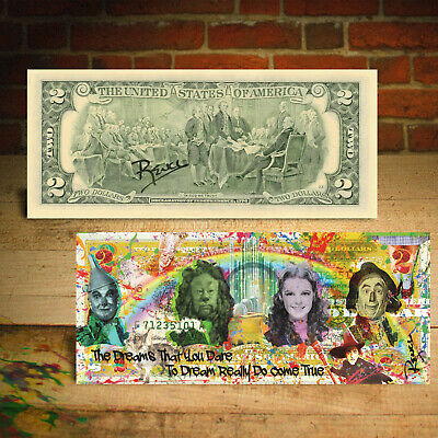 WIZARD OF OZ Dreams Genuine $2 U.S. Bill Pop Art HAND-SIGNED by Rency / Banksy