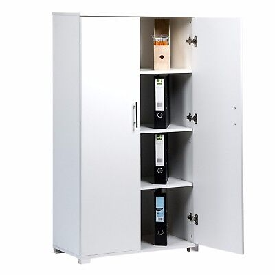 White Office Furniture Stationary Storage Cupboard Two Door Filing
