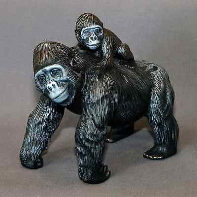 Gorilla MaMa & Baby Bronze Sculpture King Kong Figurine Statue Signed Numbered