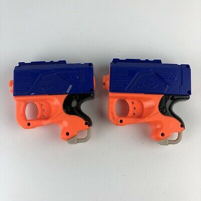 2 NERF Soft REFLEX N-Strike Single Shot Dart Guns 2007 Yellow BlueToy Sanitized