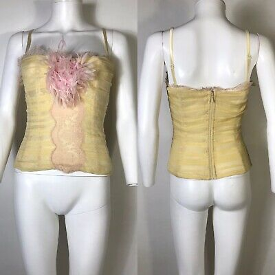 Rare Vtg Dolce & Gabbana Yellow Silk Flower Corset Top M 42