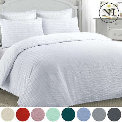 Seersucker Duvet Quilt Cover Pillowcases Ruched Non Iron Bed Linen Bedding Set