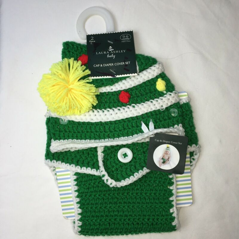 Laura Ashley Cap and Diaper Cover Set sz 0-6mo NEW Knitted Holiday