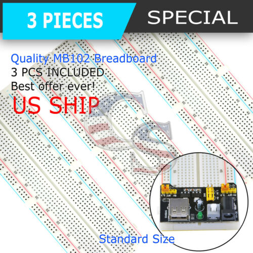 3X MB-102 830 Point Prototype PCB Solderless Breadboard Protoboard