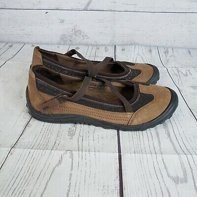 Lands End Womens Sz 7.5 D Mary Jane Terrain Z-Strap Brown Leather Walking Shoes Brown Leather Mary Jane