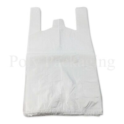 500 x WHITE VEST CARRIER BAGS 11x17x21