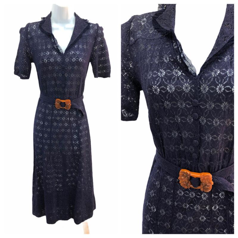 Vintage VTG 1930s 30s Navy Lace Sheer Day Dress with Brown Bakelite Belt