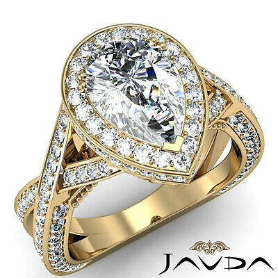 Cross Shank Milgrain Edge Halo Pear Cut Diamond Engagement Ring GIA G VS2 2.45Ct 6