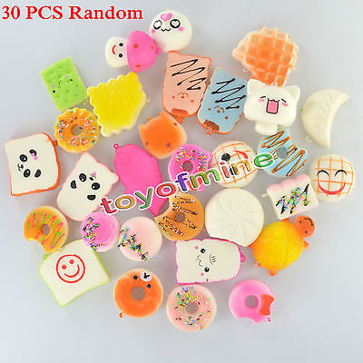 30Pcs Kawaii Squishy Lot Toast Bread Smell Cell Phone Strap Jumbo Panda Bun Kit