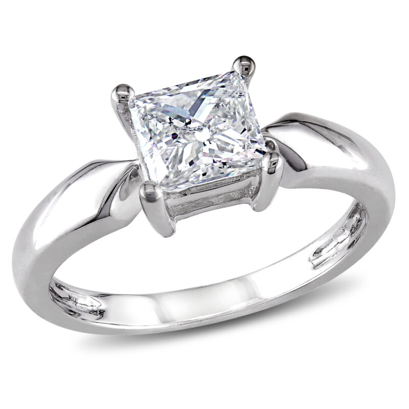Amour 1 CT TW Princess Cut Diamond Solitaire Ring in 14k White Gold