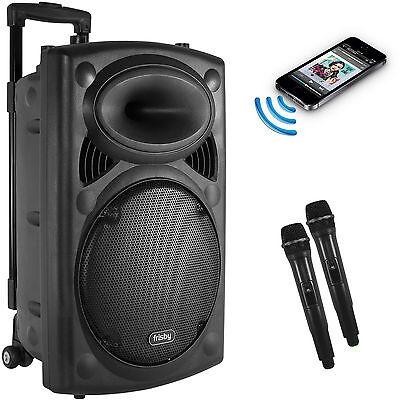 Frisby Portable Rechargeable Karaoke PA Speaker w/ 2 Wireless MIC & FM USB/SD