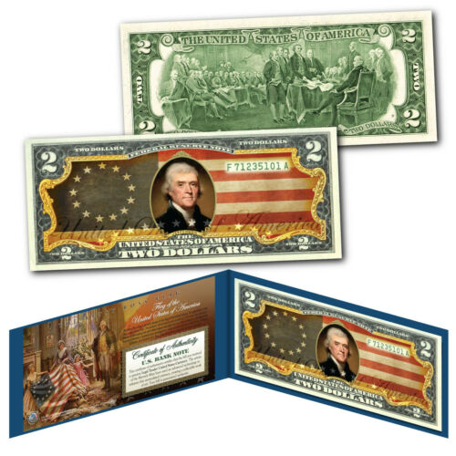 United States of America Flag Legal Tender $2 Bill Colorized - BETSY ROSS Design