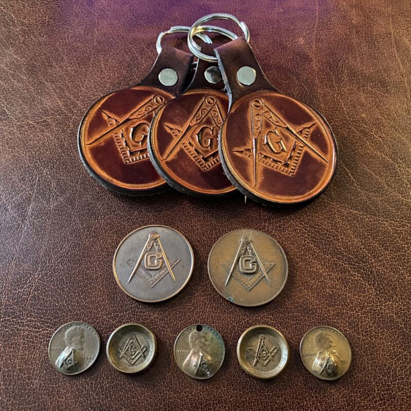 Lot of Vintage Masonic Freemasonry Coins Stamped Pennies 1920s - 40s + Keychains