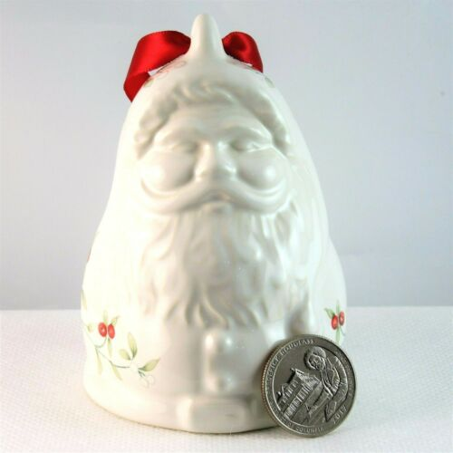 Pfaltzgraff Winterberry Bell Ornament Old Fashioned Santa Claus Stoneware 1996