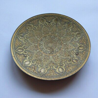 Vintage Shallow Brass-Effect Dish Engraved / Patterned (Trinket Tray Indian?)