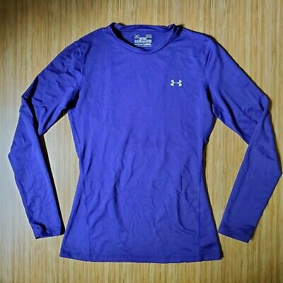 UNDER ARMOUR COLD GEAR WOMEN LONG SLEEVE PURPLE FITTED CREWNECK SHIRT MED preown
