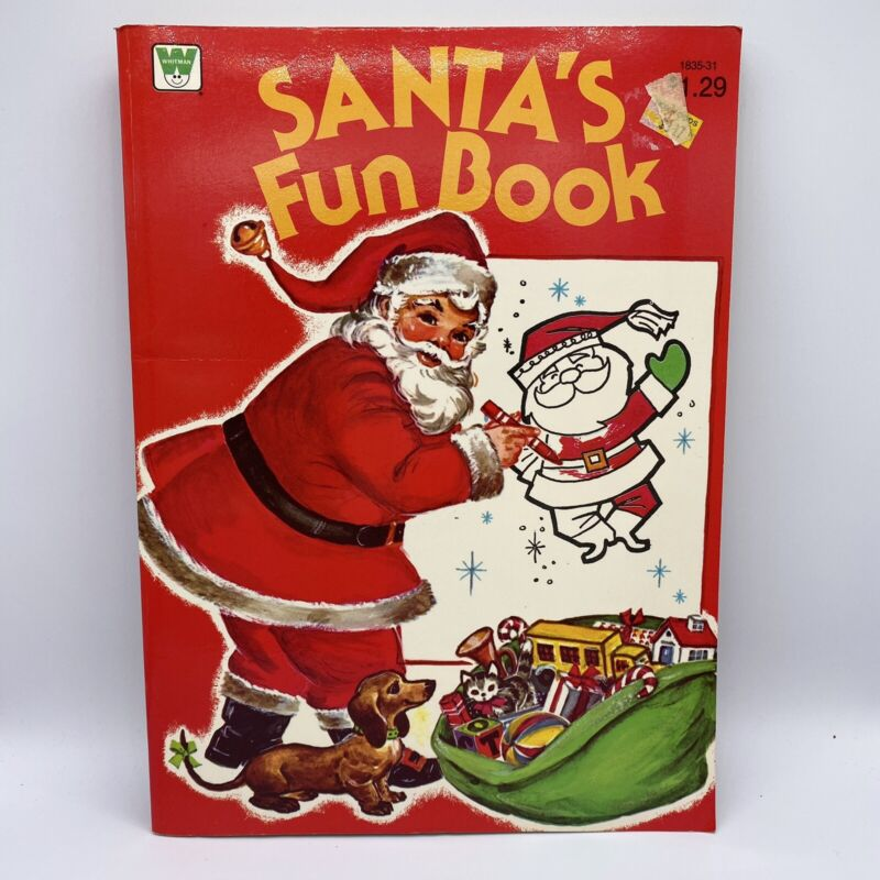 Vintage 1979 Whitman Santas Fun Coloring Activity Book Christmas