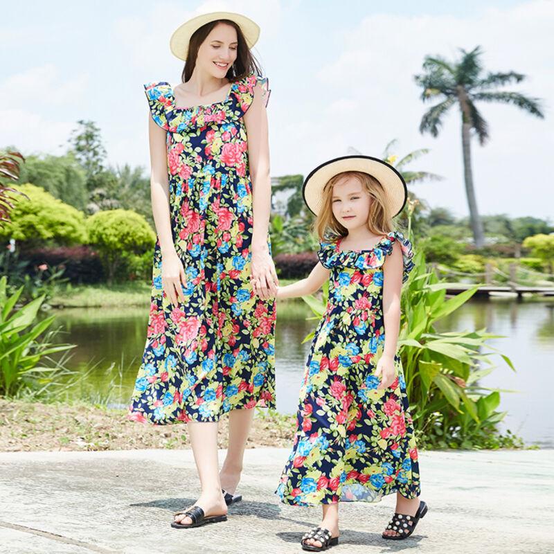 Partnerlook Mutter Tochter Kleidung Mädchen Damen Blumen Maxi Kleid Sommerkleid