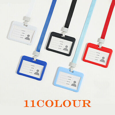 For ID Card Pass Badge Holder Pocket & Soft Neck Lanyard Strap J-Clip Safety UK