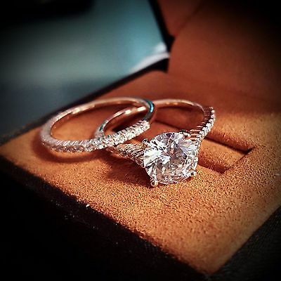1.50ct Natural Round Thin Pave Diamond Engagement Bridal Set - GIA Certified