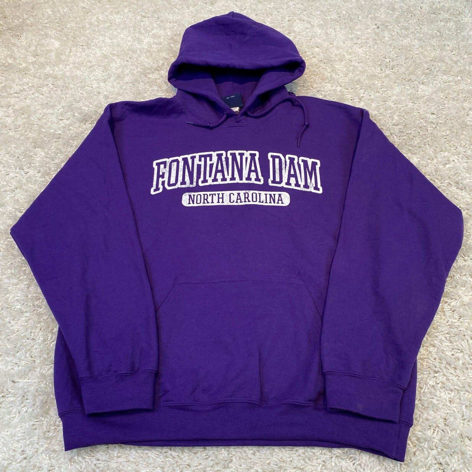 VINTAGE MV Sport Mens Hoodie Large Purple Fontana Dam North Carolina Sweatshirt