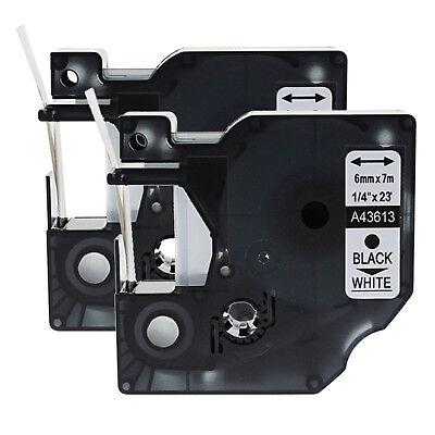 2pk Black On White Label Tape 14 23ft For Dymo D1 43613 Labelmanager 160 450d
