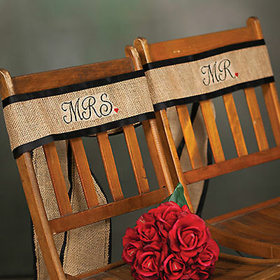 New Mr & Mrs Burlap Chair Sash 106