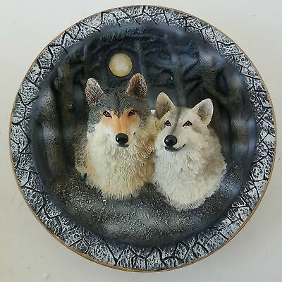 Amy & Addy Wolves 3D Three Dimensional Collector Plate