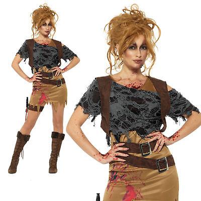 Adult Deluxe Zombie Huntress Fancy Dress Costume Tomb Raider Halloween New ()