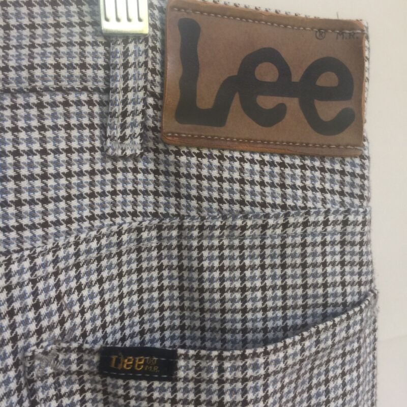 Lee Vintage 1970s Mens Pants 30x32 Blue Brown Houndstooth Trousers Super Rare E1
