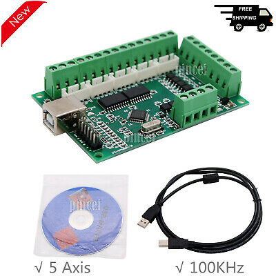 Mach3 Cnc Breakout Board Usb 100khz 5-axis Interface Driver Motion Controller