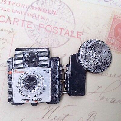 Vintage box brownie flash camera brooch Wooden laser cut lapel pin Boy gift
