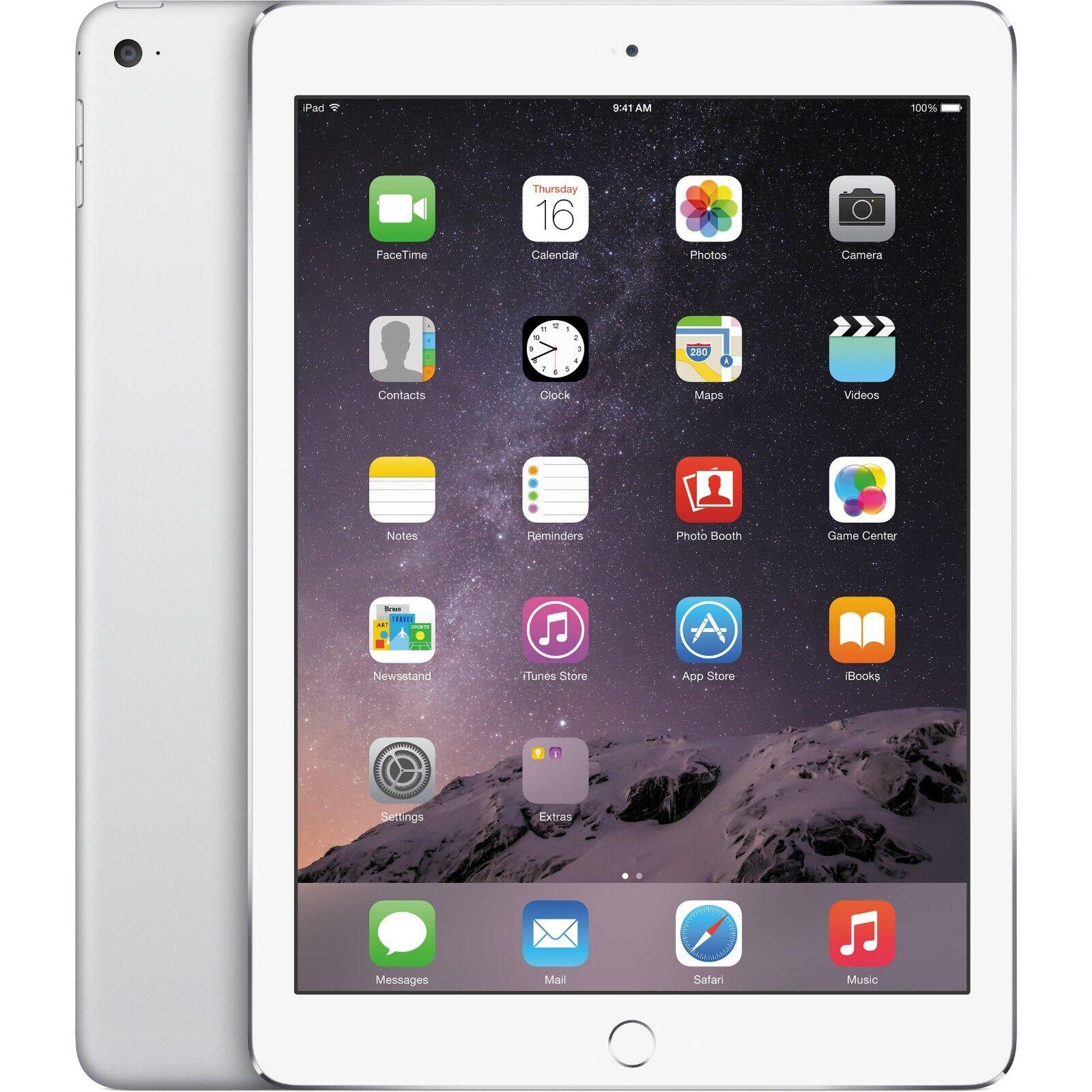 Apple 9.7 iPad Air 2 128GB Wi-Fi Silver MGTY2LL/A With Touch ID Retina Display